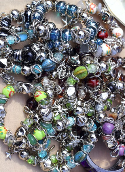 colorful jewelry mess in market background Stock photo © lunamarina