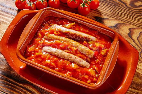 Tapas salchicha restaurante petróleo cena tomate Foto stock © lunamarina