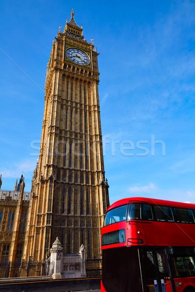 ビッグベン クロック 塔 ロンドン バス イングランド ストックフォト © lunamarina