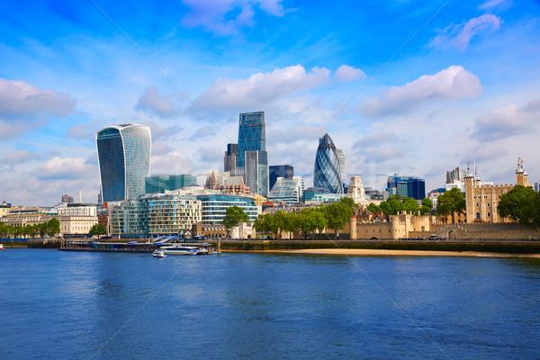 London pénzügyi negyed sziluett tér Anglia város Stock fotó © lunamarina