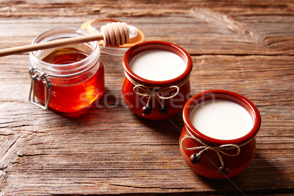 Laticínio sobremesa mel mesa de madeira comida saúde Foto stock © lunamarina