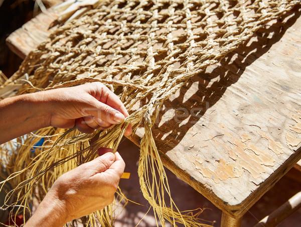 Fű iparművészet kézműves kezek dolgozik terv Stock fotó © lunamarina