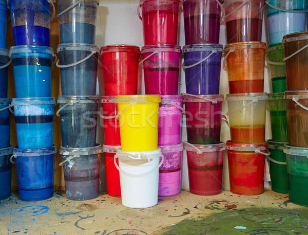 Színes tinta festék üvegek csetepaté egymásra pakolva Stock fotó © lunamarina