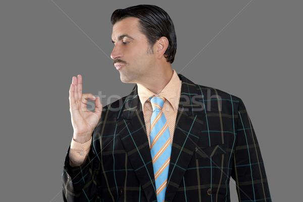 salesman occupation tacky man ok gesture profile Stock photo © lunamarina