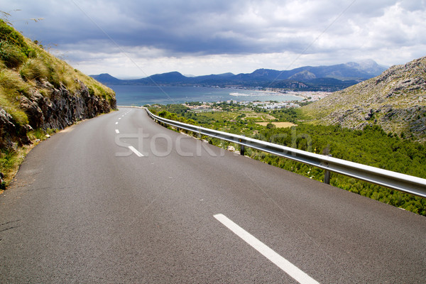 curve of road in mountain with Pollensa view in Mallorca Stock photo © lunamarina