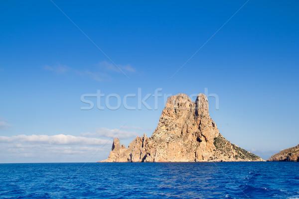 Es Vedra islet island in blue Mediterranean Stock photo © lunamarina