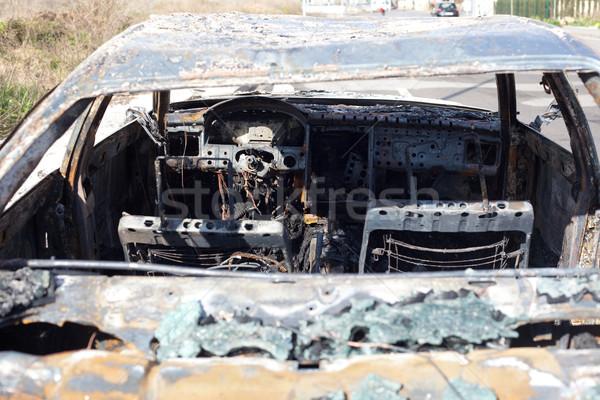 Burned out car in street Stock photo © lunamarina
