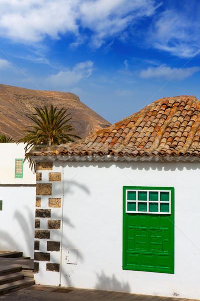 Lanzarote Yaiza white village houses green window Stock photo © lunamarina