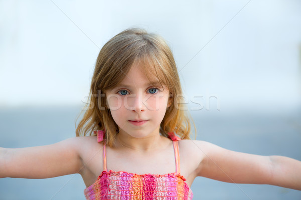 Blond kid girl open arms in outdoor Stock photo © lunamarina