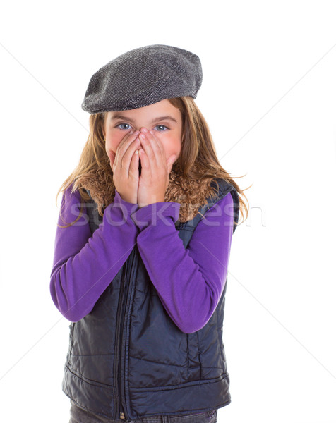 Child kid shy girl smiling hiding her face with hand Stock photo © lunamarina