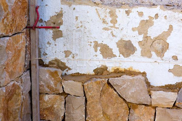 Alvenaria stonewall processo tradicional casa parede Foto stock © lunamarina