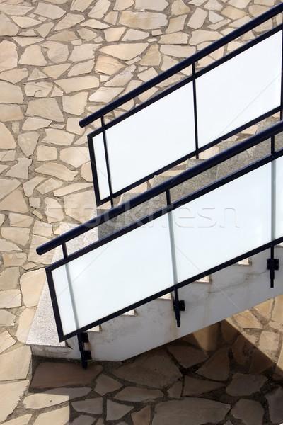 Verre escalier maçonnerie étage maison construction Photo stock © lunamarina