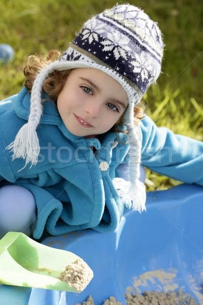 beautiful toddler girl winter hat portrait outdoors Stock photo © lunamarina