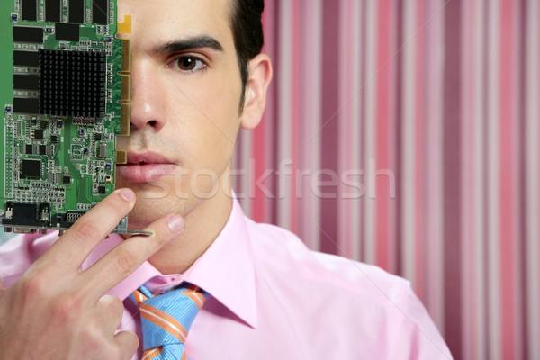 Zdjęcia stock: Biznesmen · elektronicznej · obwodu · twarz · technologii · metafora