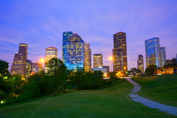 Houston Texas modernes Skyline coucher du soleil crépuscule Photo stock © lunamarina