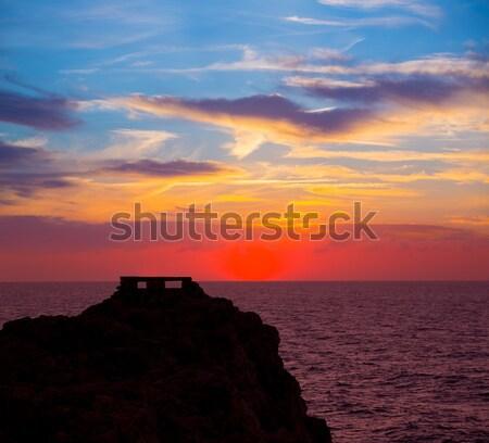 Ciutadella Menorca at Punta Nati orange sunset Stock photo © lunamarina