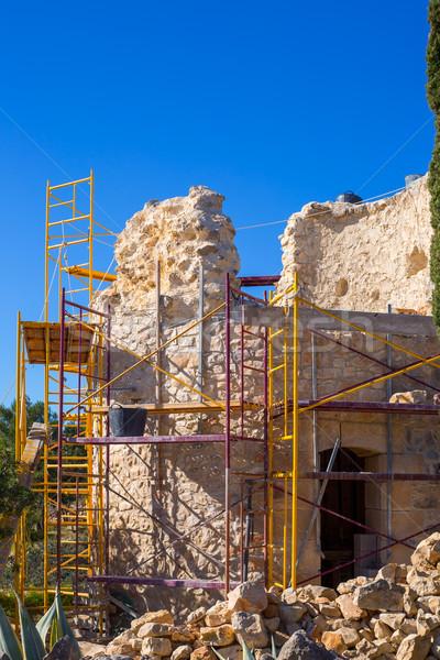 Morze Śródziemne wieża kamieniarstwo poprawa budowy Hiszpania Zdjęcia stock © lunamarina