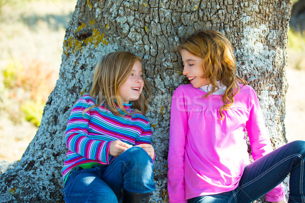Sister kid girls smiling sit relaxed in a oak tree trunk Stock photo © lunamarina