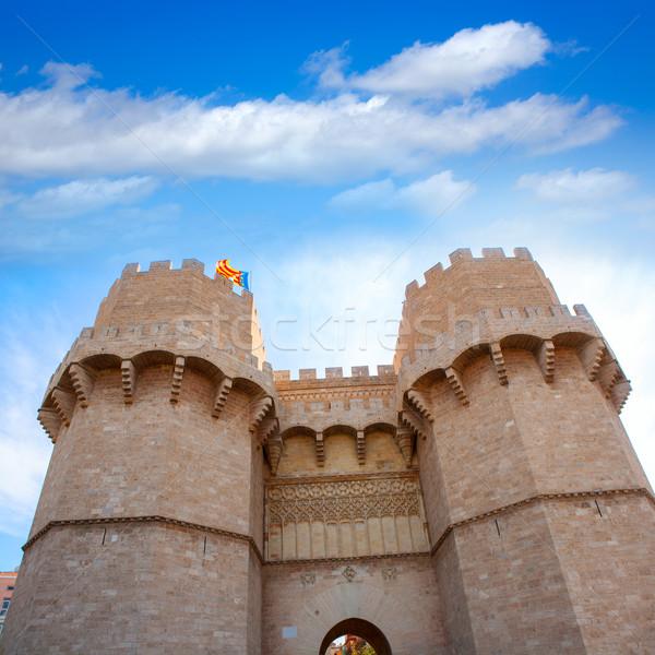 Valencia serrano tornyok Spanyolország erőd bejárat Stock fotó © lunamarina