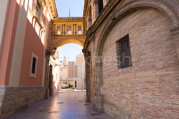 Valencia corridor arch between Cathedral and Basilica Spain Stock photo © lunamarina