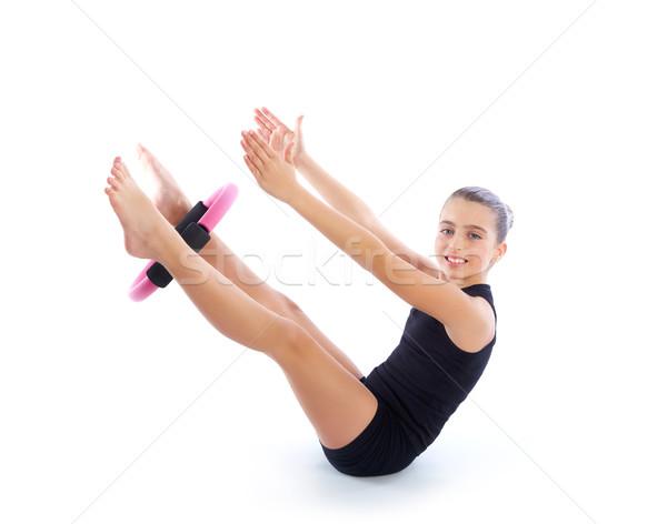 Fitness pilates yoga ring kid meisje Stockfoto © lunamarina