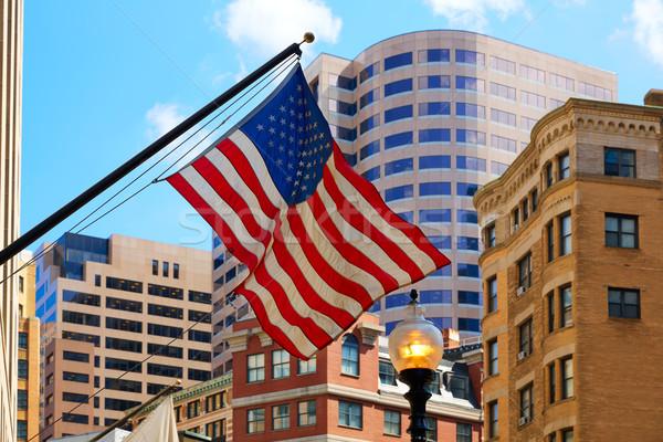 Bandera de Estados Unidos Boston centro de la ciudad Massachusetts EUA cielo Foto stock © lunamarina