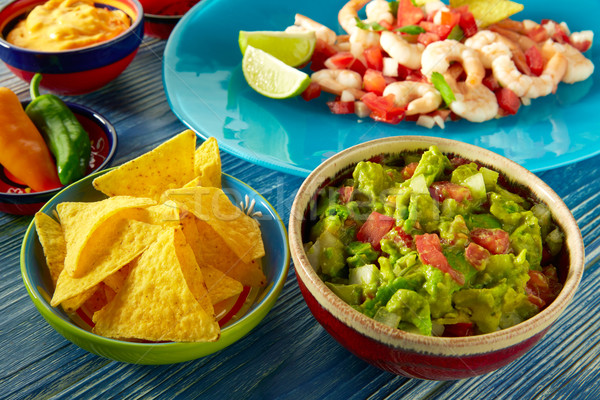 Guacamole mexican food with ceviche and nachos Stock photo © lunamarina
