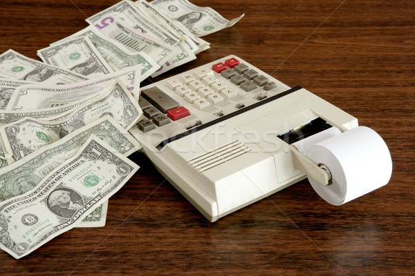 доллара отмечает калькулятор бухгалтер служба Vintage Сток-фото © lunamarina