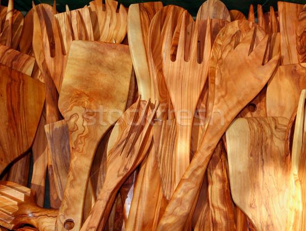 Evőeszköz olajfa fa spanyol hagyományos konyhai felszerelés Stock fotó © lunamarina