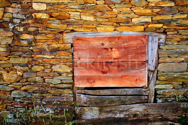 Manier steen galicië houten deur Stockfoto © lunamarina