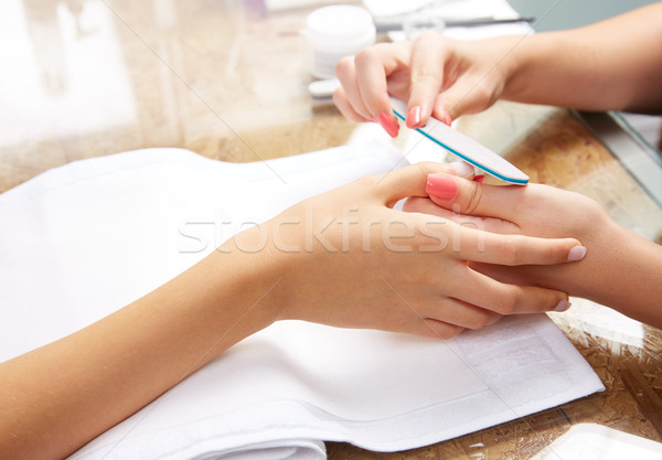 emery polish sandpaper woman nails Stock photo © lunamarina
