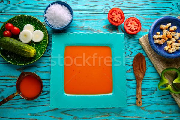 Gazpacho andaluz tomato soup and vegetables Stock photo © lunamarina