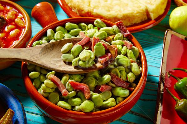 タパス リマ 豆 ハム スペイン 木材 ストックフォト © lunamarina