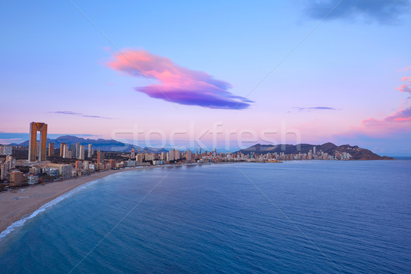 Benidorm Poniente beach sunset Alicante Spain Stock photo © lunamarina