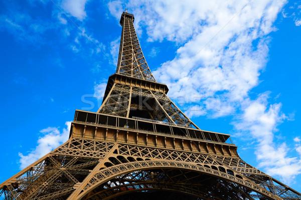Eiffel-torony Párizs kék ég Franciaország kék napos Stock fotó © lunamarina