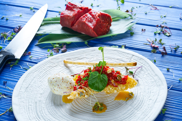 Biftek hardal dondurma hava yastığı ahşap arka plan Stok fotoğraf © lunamarina