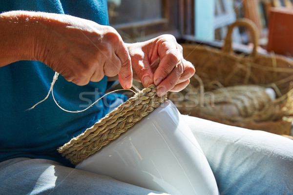 Stock photo: Esparto halfah grass crafts craftsman hands
