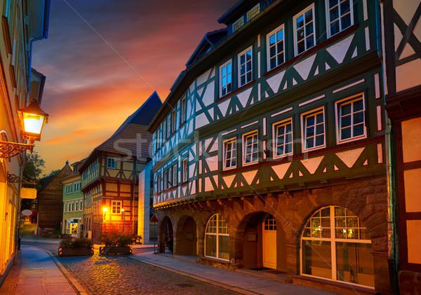Nordhausen city at sunset in Thuringia Germany Stock photo © lunamarina
