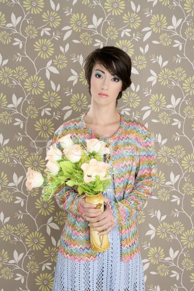 Stok fotoğraf: Retro · 60s · moda · bağbozumu · çiçekler