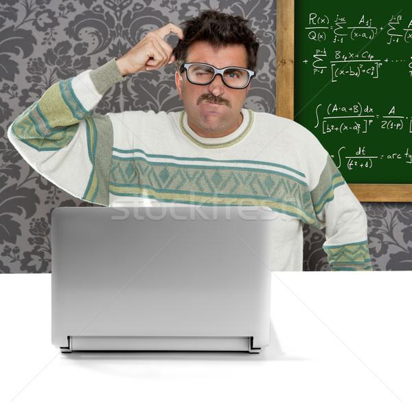 Dahi inek öğrenci aptal gözlük düşünme jest Stok fotoğraf © lunamarina