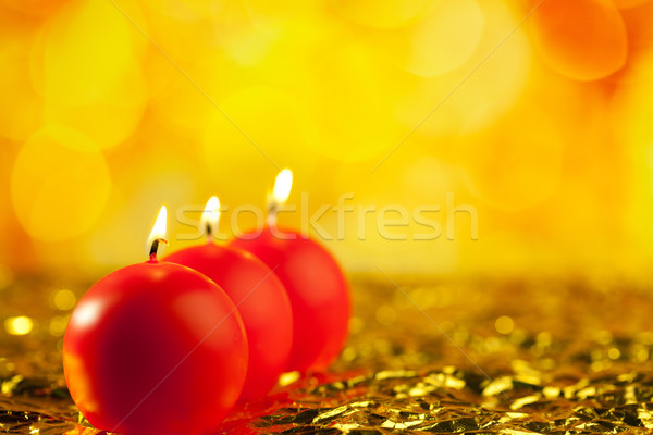 Stockfoto: Christmas · Rood · kaarsen · vorm · rij · bokeh