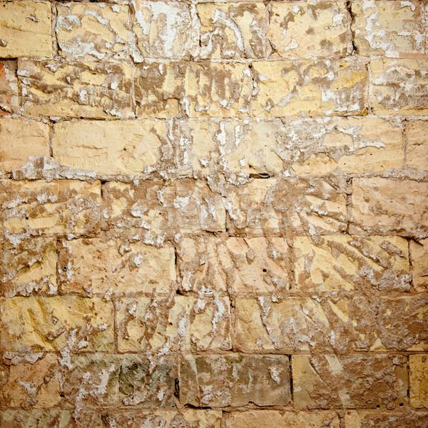 Stock photo: brick wall grunge scraped brickwall to restore