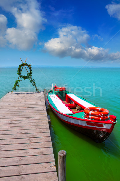 Albufera lake boat jetty in Valencia El Saler Stock photo © lunamarina
