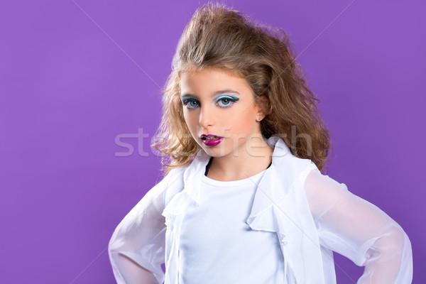 Children fashion makeup kid girl on purple Stock photo © lunamarina