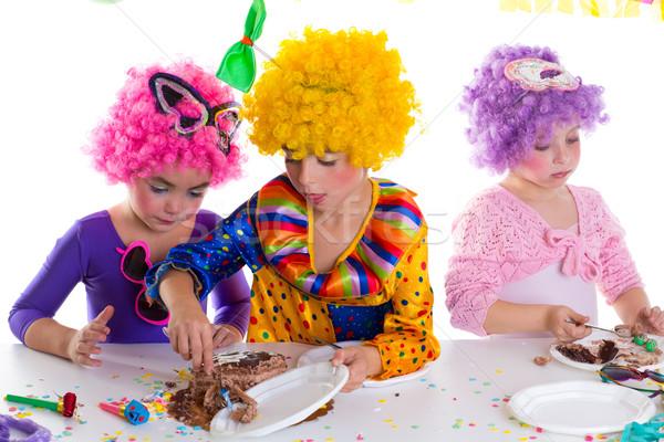 Stockfoto: Kinderen · gelukkige · verjaardag · partij · eten · clown