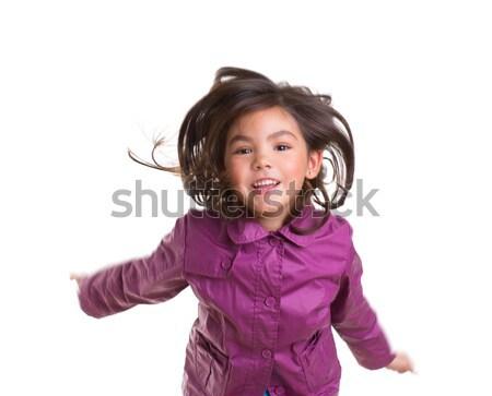 Asian enfant fille sautant heureux hiver Photo stock © lunamarina