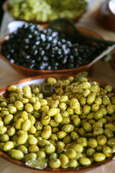 Detail of olives bowl in the marketplace Stock photo © lunamarina