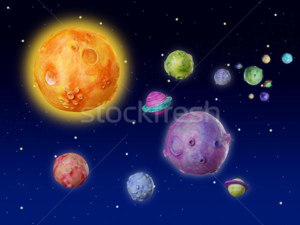 űr bolygók fantázia kézzel készített univerzum színes Stock fotó © lunamarina