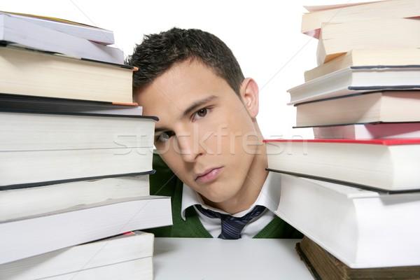 Сток-фото: молодые · несчастный · студент · книгах · домашнее · задание