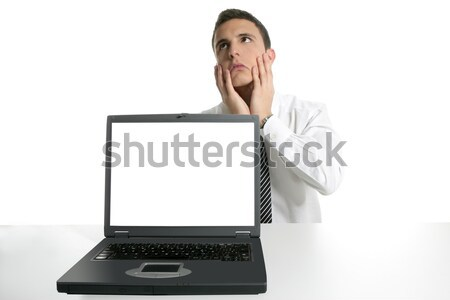 Foto d'archivio: Imprenditore · computer · portatile · laptop · copia · spazio · schermo